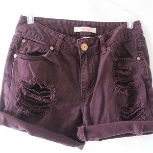 Refuge Burgundy Denim Shorts